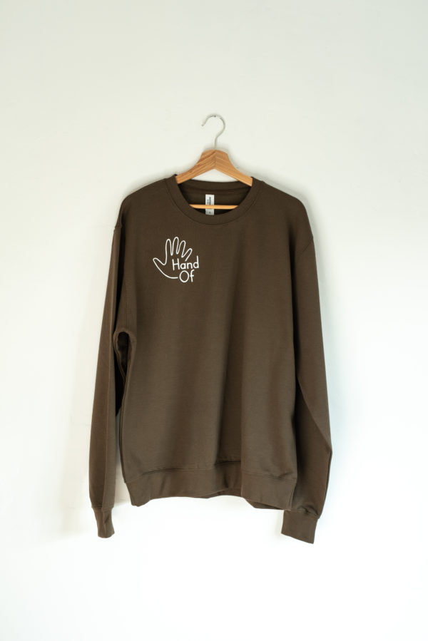 Hand Of jumper in olive green (front)