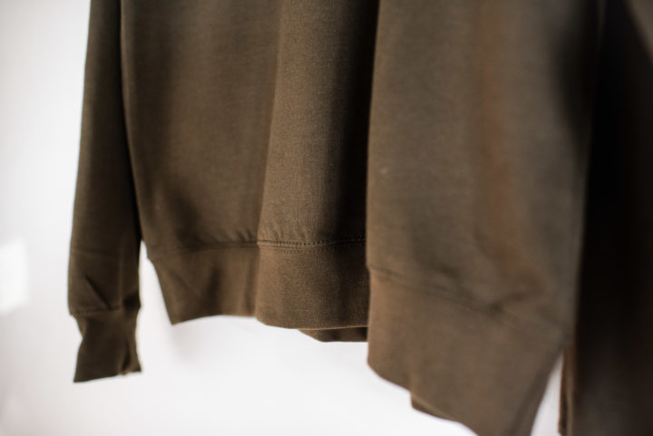 Hand Of jumper in olive green (lower detail)