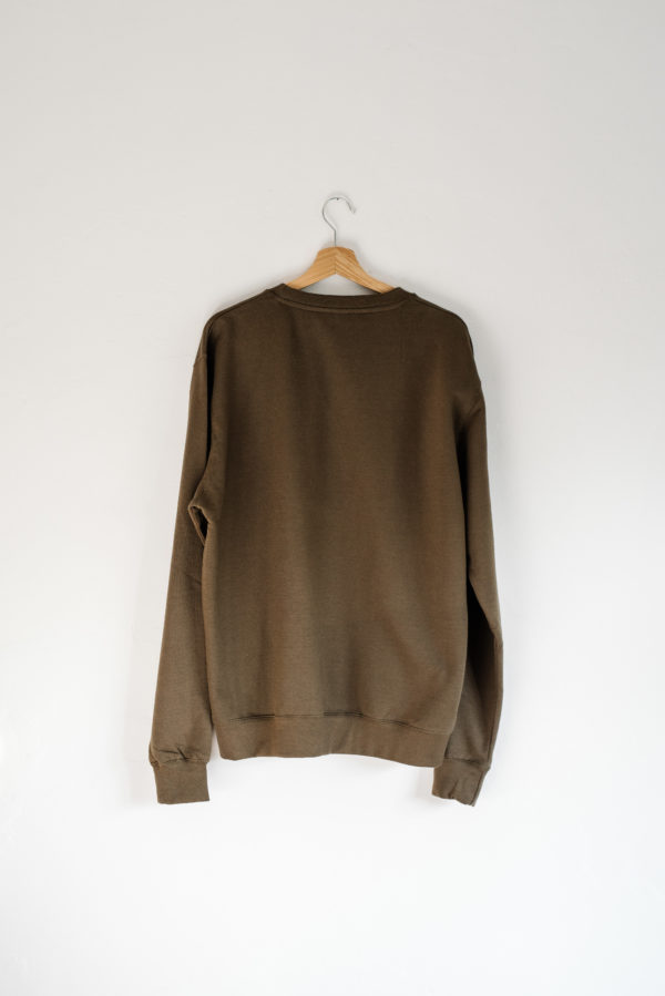 Hand Of jumper in olive green (back)