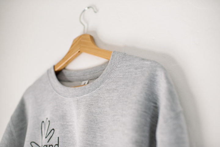 Hand Of logo jumper in grey (collar detail)