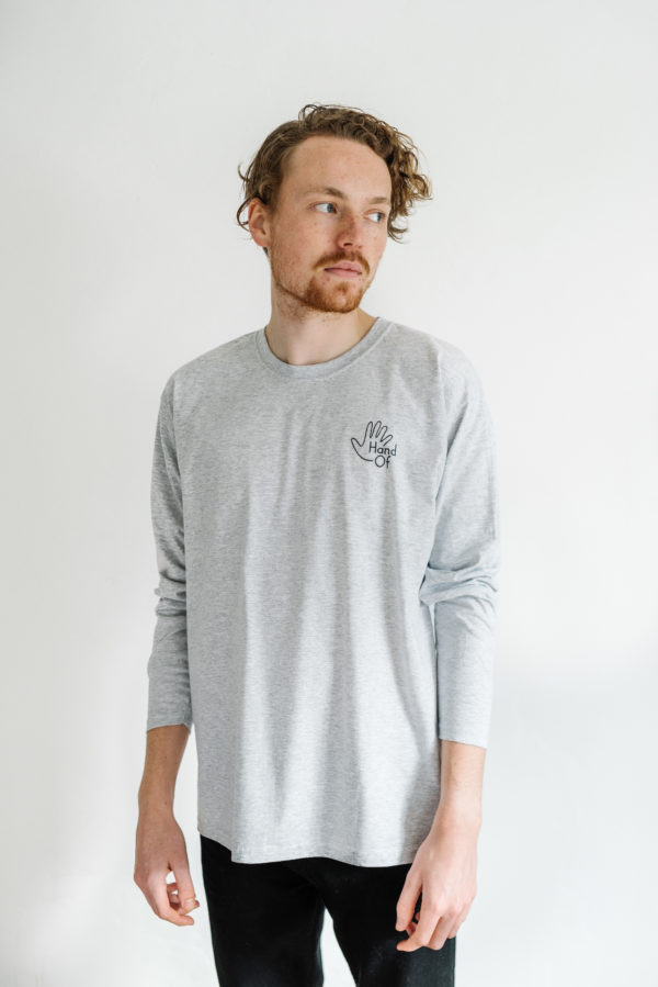 Hand Of long sleeve t-shirt, modelled by Scott Hukins